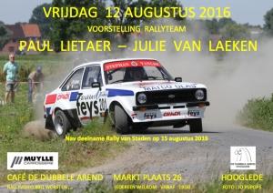 Paul Lietaer in Rally van Staden met debuterende copilote