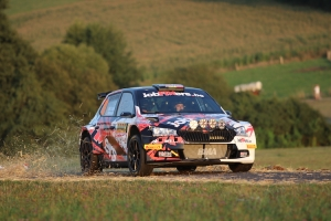 Pieter-Jan Michiel Cracco aan de finish van de ADAC Rallye Deutschland